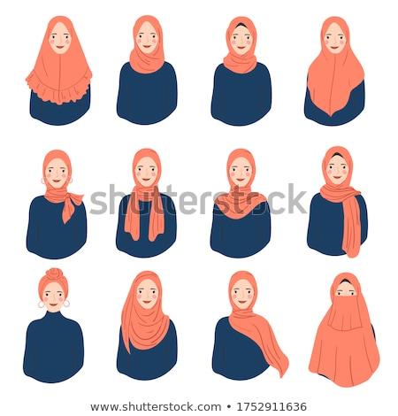 cute · Frau · tragen · Schal · Gesicht · Modell - stock foto © konradbak