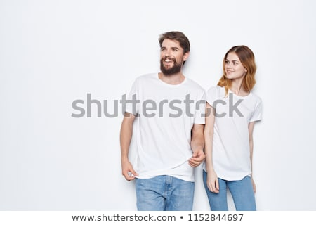 two beautiful girls in white shirts and jeans stock photo © svetography