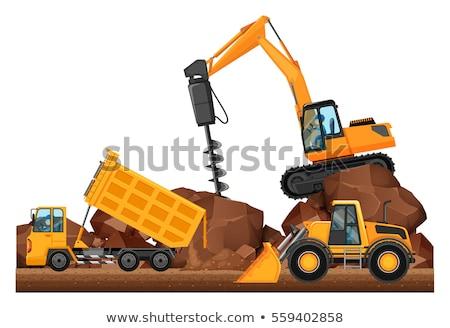three different construction trucks working stock photo © bluering