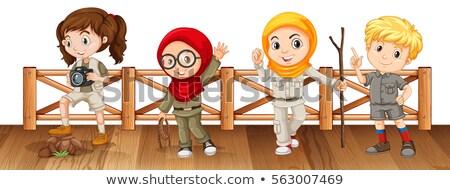 Négy gyerekek szafari híd illusztráció gyermek Stock fotó © bluering