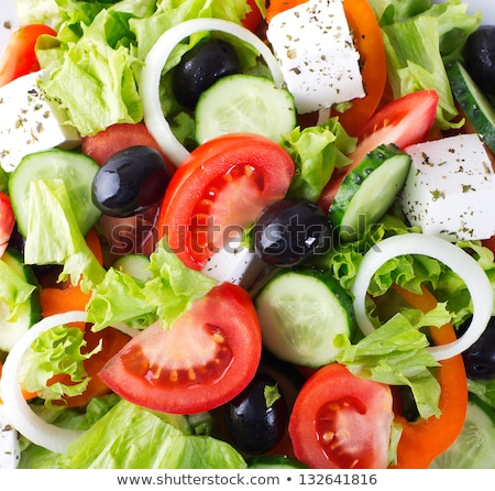 Fresh Greek salad closeup in a restaurant Stock photo © frimufilms