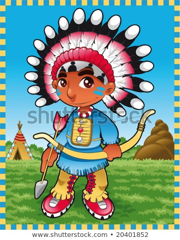 funny man indian tribal cartoon posing Stock photo © jawa123