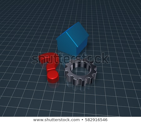 house model question mark and gear wheel   3d rendering stock photo © drizzd