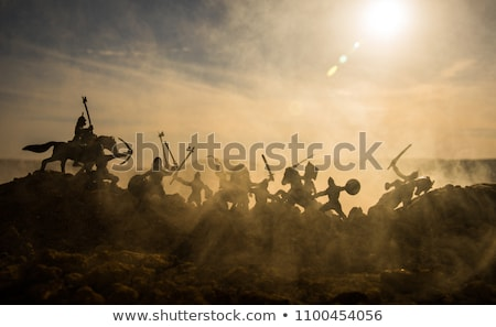 Batalla escena silueta vector ilustración medieval Foto stock © Tawng