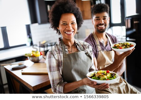 young african american chef cook laughing stock photo © rastudio