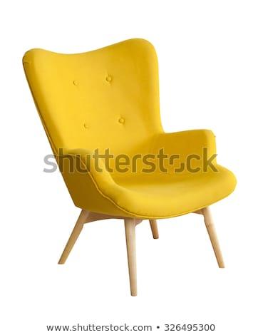 moderno · cadeira · madeira · azul · parede · casa - foto stock © allihays