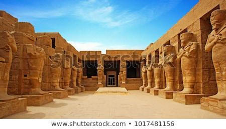 egypt statues of sphinx in karnak temple stock photo © mikko