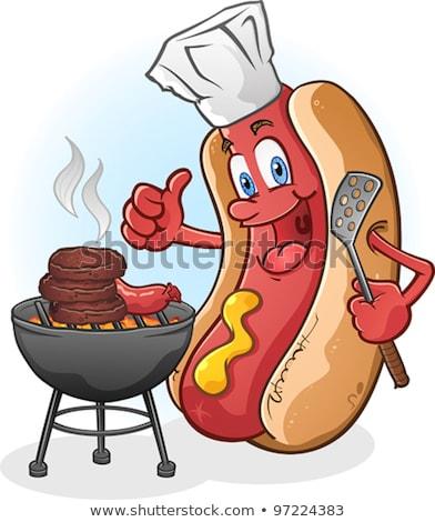 Rajz szakács hotdog remek illusztráció kéz Stock fotó © Krisdog
