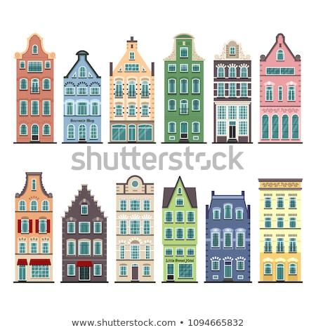 Vector stijl illustratie traditioneel huizen banner Stockfoto © curiosity