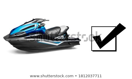 Stock photo: blue jet ski front view isolated on white