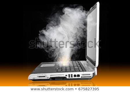 Dizüstü bilgisayar yangın bulut duman tamir destek Stok fotoğraf © timh