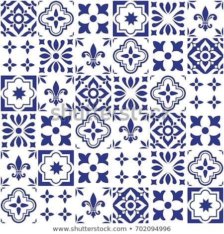 Geometric vector tile design, Portuguese or Spnish seamless navy blue tiles, Azulejos pattern Stock photo © RedKoala