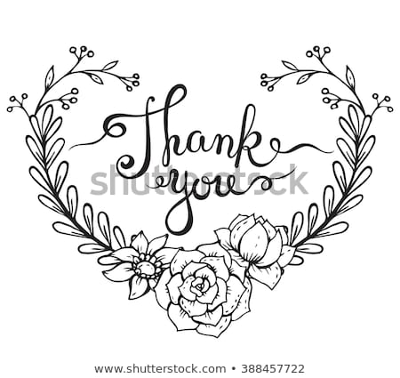 Hand lettering words Thank you with hand drawn floral wreath on white background. Handmade calligrap Stock photo © Galyna_Tymonko
