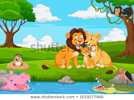 Famille jungle illustration forêt rivière animaux Photo stock © adrenalina