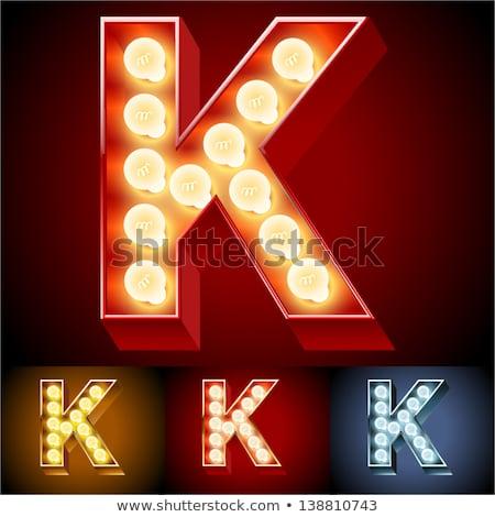 Letter K lamp glowing font. Vintage light bulb alphabet. Retro A Stock photo © popaukropa