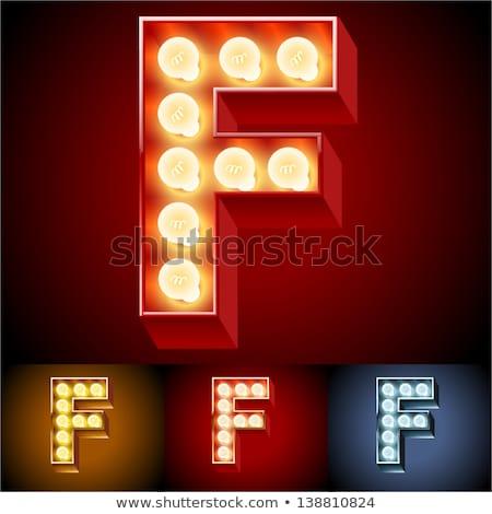 Letter F lamp glowing font. Vintage light bulb alphabet. Retro A Stock photo © popaukropa