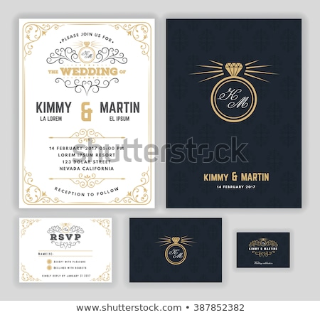 Creative wedding invitations with flourish and twirls design template Stock photo © reftel