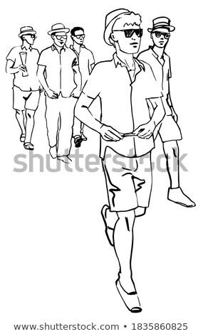 férfi · sör · illusztráció · tart · bár · kocsma - stock fotó © rastudio