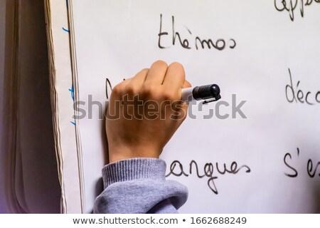 Left-hand female business person writing on office whiteboard Stock photo © stevanovicigor