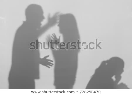 Huiselijk geweld vrouw vorm gezicht vuist silhouet Stockfoto © Olena