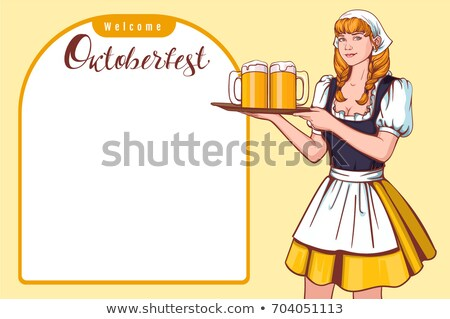 beautiful young woman waiter holding tray with beer welcome oktoberfest german beer festival stock photo © orensila