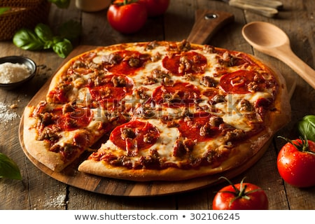 frissen · sült · pizza · egész · finom · étel - stock fotó © zhekos