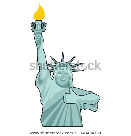 Statue of Liberty Winks. thumbs up landmark  America. Sculpture  Stock photo © popaukropa