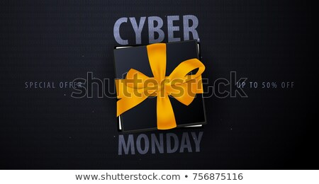 Cyber Monday Sale banner with gifts. Binary code background. Vector illustration. Stock photo © Leo_Edition