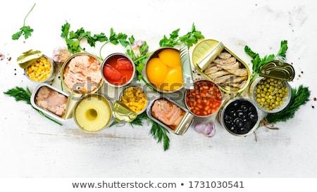 Friss zöldborsó alumínium konzerv illusztráció étel Stock fotó © bluering