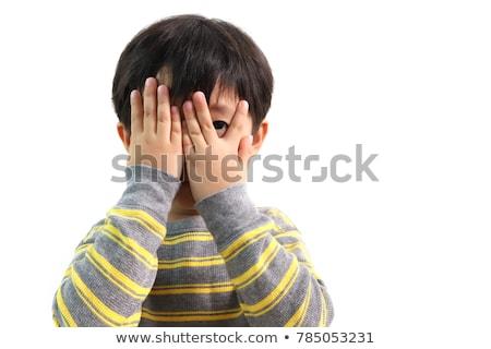 Kid Boy Blindfold Peek Stock photo © lenm