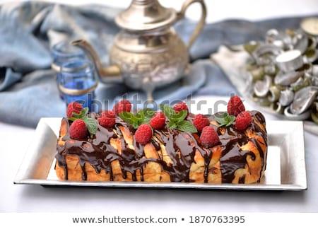 Tányér édes mazsola fehér étel gyümölcs Stock fotó © Digifoodstock