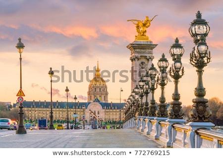 Stok fotoğraf: Köprü · Paris · görmek · gün · batımı · Fransa · ev