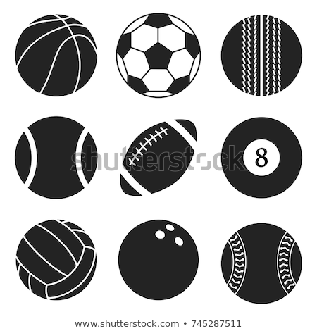Conjunto preto e branco desenho animado esportes bola Foto stock © adrian_n
