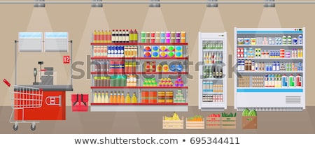 mall checkout counter with cashier icon stock photo © studioworkstock