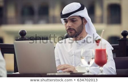 Arapça işadamı kahve fincanı çalışma ofis sekreter Stok fotoğraf © studioworkstock