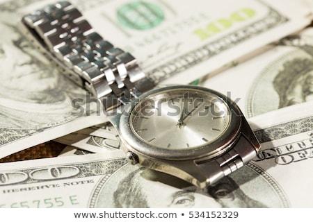 Zseb óra egy száz dollár bankjegyek közelkép Stock fotó © wavebreak_media