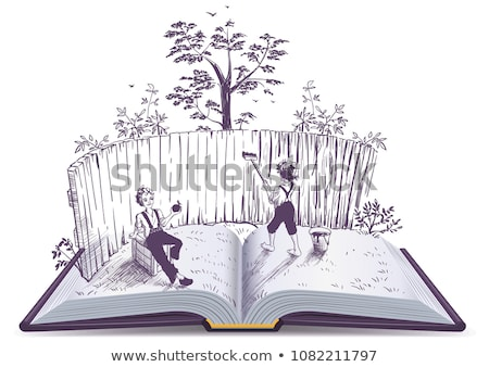 Tom Sawyer paints fence open book illustration Stock photo © orensila