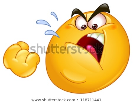 Angry Yellow Cartoon Smiley Face Character With Aggressive Expressions Stock photo © hittoon