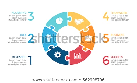 Six steps infographic template with puzzle pieces Stock photo © orson