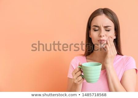 szenvedés · fogfájás · zaklatott · középkorú · nő · kezek · arc - stock fotó © andreypopov