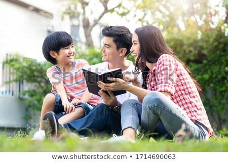 Kid Boy Mom Home Garden Book Stock photo © lenm