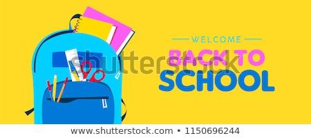 Stockfoto: Welkom · terug · naar · school · web · banner · kid · rugzak