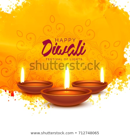 artistic diwali background with diya and orange watercolor stock photo © sarts