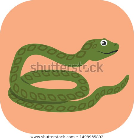 Zdjęcia stock: Orange Cobra Snake Cartoon Icon Vector Illustration
