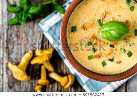 Fűszeres krémes gomba leves tál narancs Stock fotó © mpessaris
