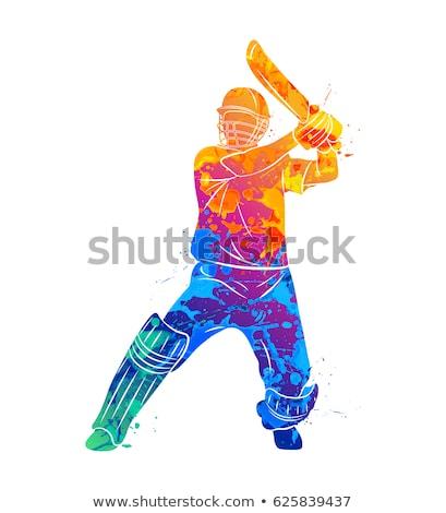 крикет · дизайна · красочный · игрок · белый · типографики - Сток-фото © Vicasso
