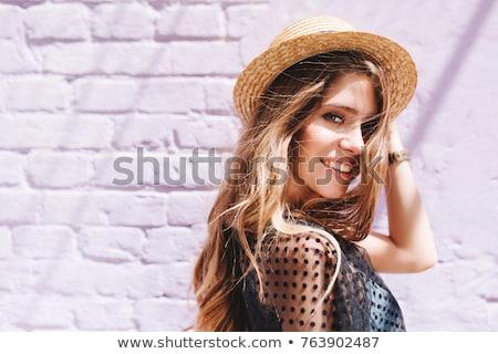 カジュアル 夏 レトロな 見 魅力的な女の子 屋外 ストックフォト © artfotodima