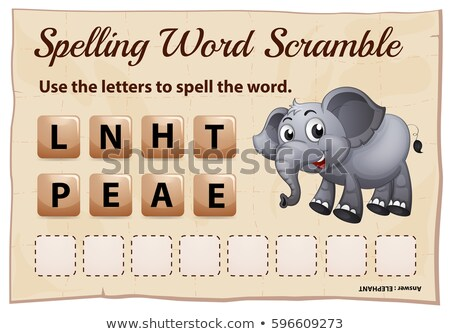 Spelling word scrable game with word elephant Stock photo © colematt