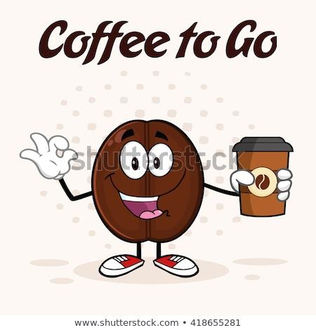 Heureux grain de café mascotte dessinée personnage tasse de café Photo stock © hittoon
