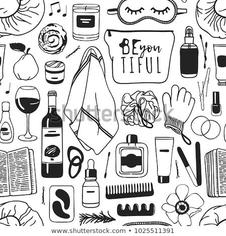 manicure hand drawn doodles seamless pattern nails art background stock photo © balabolka